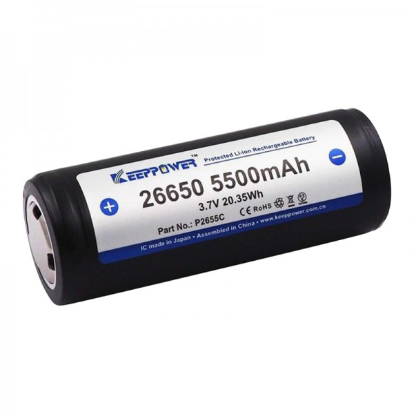 KeepPower 26650 5500mAh 3.7V Li-ion Protected Rechargeable Battery P2655C