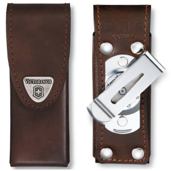 Victorinox Leather Pouch Brown w Rotating Clip for SwissTool Spirit 4.0822.L1