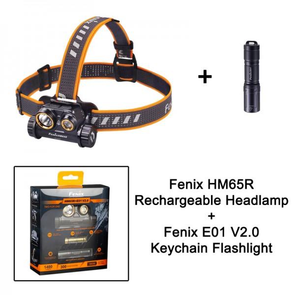 Fenix HM65R  Rechargeable Headlamp + E01 V2.0 Mini Keychain Flashlight Bundle