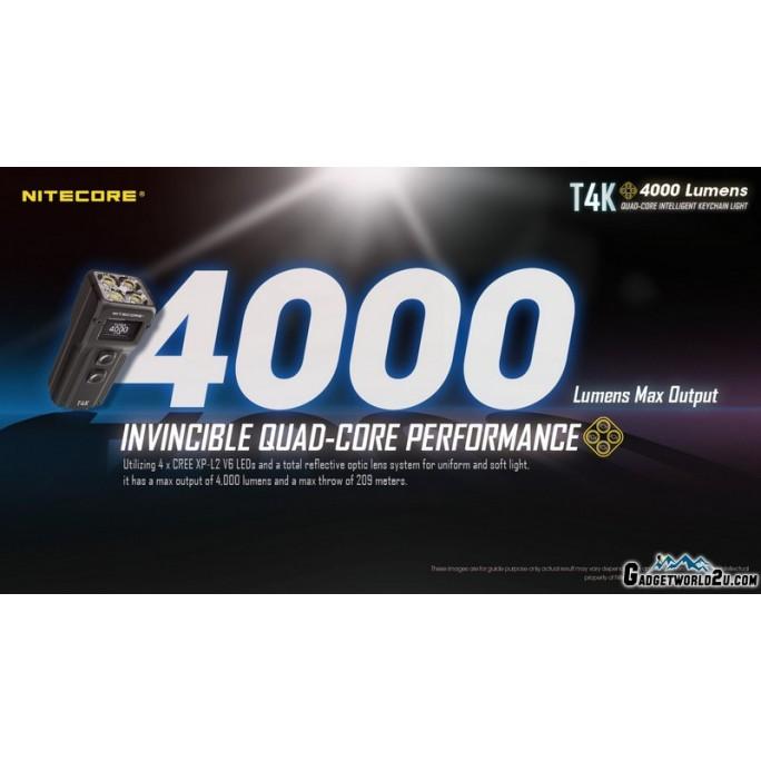 Nitecore T4K USB Rechargeable 4 x CREE XP-L2 V6 4000L LED Keychain Flashlight