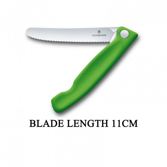 Victorinox Swiss Classic 11cm Wavy Edge Serrated Foldable Paring Knife Green 6.7836.F4B