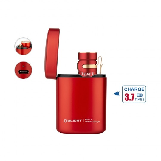 Olight Baton 3 Premium Edition Red Rechargeable LED 1200L Flashlight with Charging Case