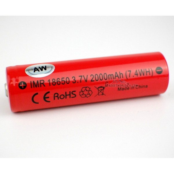AW IMR 18650 3.7V 2000mAh UnProtected Li-ion Rechargeable Battery